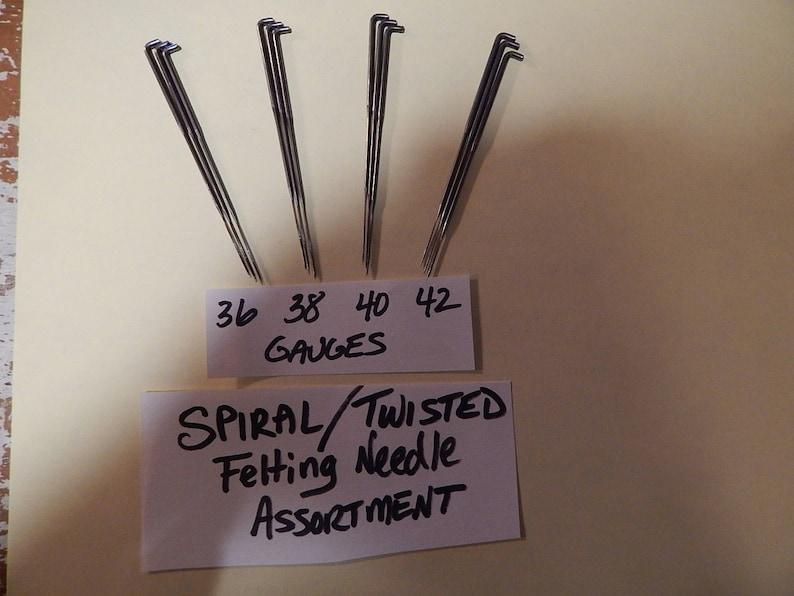 NEW 10 Spiral// Twisted Felting Needles-40 Gauge-2 Barbs per 3 sides-Fine Gauge