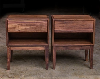 """MODERN DOVETAIL NIGHTSTAND     5 & 5 Style     Solid Walnut Hardwoods     Single Drawer     Tapered Legs     18""""W x 12""""D"""