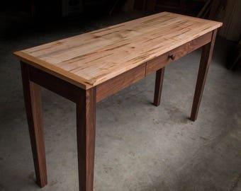 SHAKER INSPIRED DESK | Solid Ambrosia Maple U0026 Walnut Hardwoods | Oil + Wax  Finish | Drawer Optional | Shipping Included