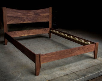 WALNUT SIMPLE BED     Platform Bed Frame     Curved Headboard     Solid Walnut Hardwoods     Slats Optional