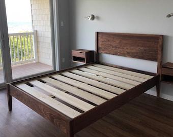 GOLDILOCKS WALNUT BED     Mid Century Modern      Solid Walnut Hardwoods     Platform Bed Frame     Shipping Included     Slats Optional