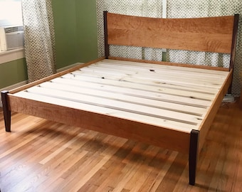 CURLY CHERRY & WALNUT     Platform Bed Frame     Curved Headboard     Solid Hardwoods     Shipping Included     Slats Optional