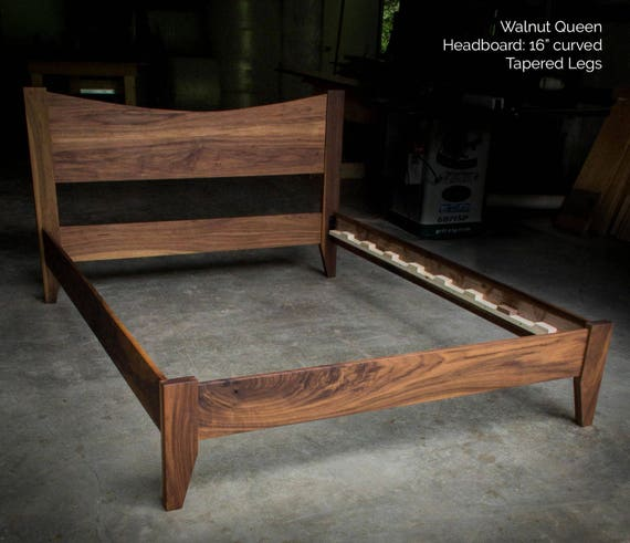 Walnut Simple Platform Bed Frame With Curved Headboard