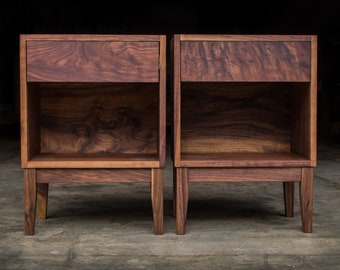 """MODERN DOVETAIL NIGHTSTAND     5 & 10 Style     Solid Walnut Hardwoods     Single Drawer     Tapered Legs     18""""W x 14""""D"""
