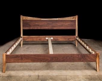 DIP TOP BED    Solid Ambrosia Maple + Walnut Hardwoods     Platform Bed Frame     Curved Headboard     Slats Optional
