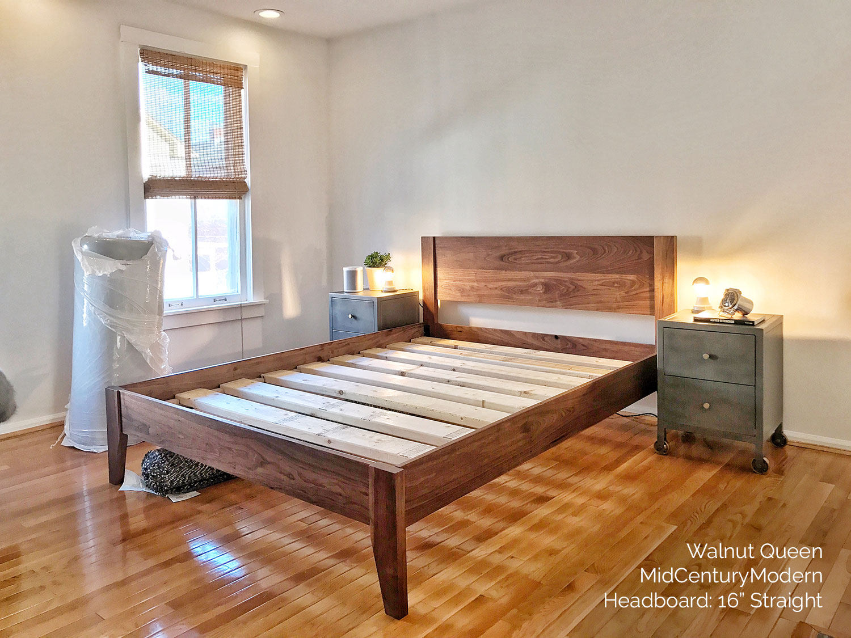 Delightful MID CENTURY MODERN Solid Walnut Platform Bed Frame W Straight | Etsy