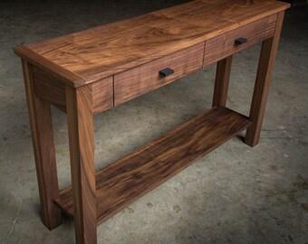"MODERN WALNUT CONSOLE     Narrow Console Table 48"" x 14""     Walnut Hardwoods     Oil + Wax Finish     Drawers & Shelf     Shipping Included"