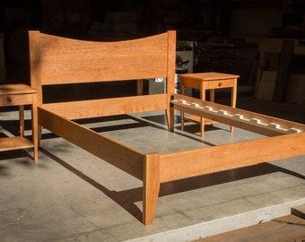 CHERRY SIMPLE BED     Platform Bed Frame     Curved Headboard     Solid Cherry Hardwoods     Slats Optional
