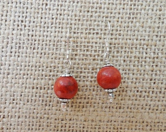 Red earrings, coral earrings, sterling silver, gift item, red jewelry, coral jewelry, beach jewelry, elegant earrings, silver jewelry