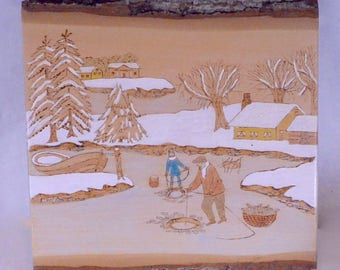 Original Carving Painting Quebec? on Live Edge Wood