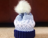 PATTERN for Fair Isle Tri-Color Crocheted Hat (5 sizes)