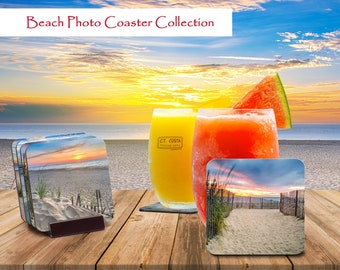 Beach Photo Coaster Collection, Seascape Set of Drink Coasters, Buy a Set of 4 includes Coaster Holder, Featuring photography by C.T. Costa