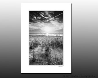 Black and White Beach Photography, Towers Beach Delaware, Small Art Gifts, Small Matted Print Fits 5x7 inch Frame