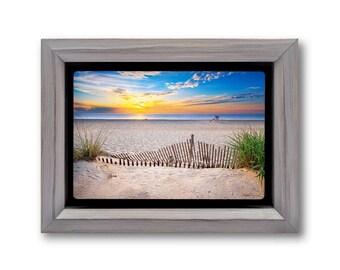 Beach Sunrise Photo Metal Print, Dewey Beach Delaware Photography on Metal, Dune Fence Art, Handmade Wood Frames, Ready to Hang