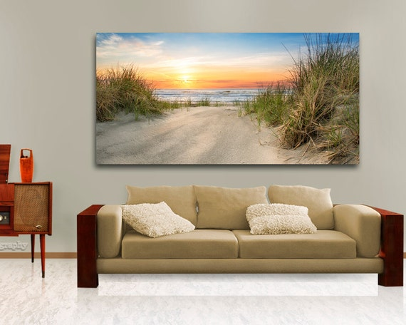 Large ocean beach wall decor above the couch hanging art - Over the couch decor ...