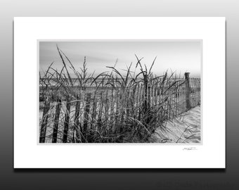 Black and White Beach Fence Photography, Fenwick Island, Small Art Gifts, Small Matted Print Fits 5x7 inch Frame