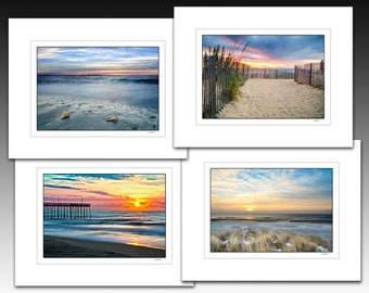 Beach Sunrise Matted Print Collection, Set of four matted prints, Buy as a set and save