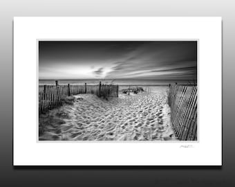 Black and White Beach Sunrise Photography, Fenwick Island, Small Art Gifts, Small Matted Print Fits 5x7 inch Frame
