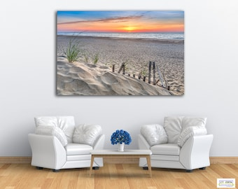 Fenwick Island Sunrise Metal Print Wall Art,  Footprints in the Sand Beach photography, Limited Edition Art, Comes Ready to Hang