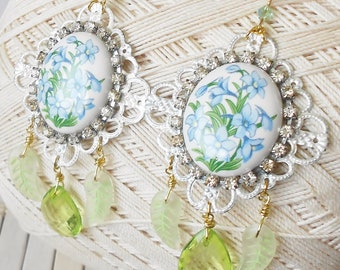 Forget Me Nots Chandelier Earrings, Blue Flowers, Vintage style, Something blue, One Offs, Springtime, Rhinestones earrings, Green & White