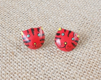 Vintage Red Cat Face Earrings, 1980's, Hand painted, Striped kitty, Retro chic, Pop Art style, Kitschy, Adorable, Large Stud earrings, Rad