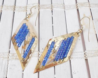 Wild Bryde Earrings, Lightening Bolts, Vintage, Gold and Blue, Beaded Details, Hammered Gold finish, Diamond shaped, Dangle earrings, 1980's