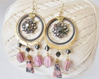 Rhinestones & Rhodonite Chandelier Earrings, BoHo style, Long earrings, Double Hoops, Black Pink and Gold, Gypsy earrings, Bohemian Rhapsody