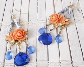 Cobalt & Coral Chandelier Earrings, Carved Flowers, Vintage style, Eco Chic, Long earrings, Calico print, Dainty Dangles, Floral design