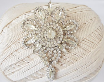 Huge Vintage Clear Rhinestone Brooch, Glitz & Glam, vintage Bridal, Lapel pin, Mother of the Bride, Art Deco style, Floral pin, Bling bling