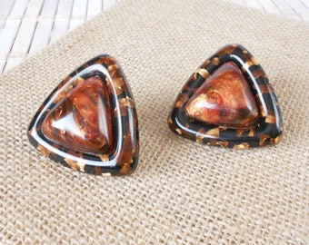 Vintage Triangle Thermoset Clip Earrings, Black & Brown, Shimmery Lucite, clip ons, Geometric earrings, Tortoiseshell, Large earrings, MOD