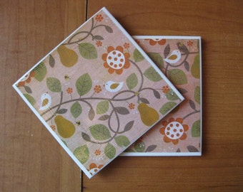 BIRDS AND PEARS - Ceramic Coasters - set of 2