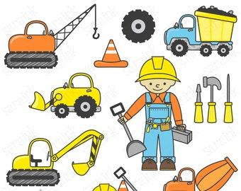 Construction Clipart, Construction Party Clipart, Digital Clipart, Clip art for Instant Download