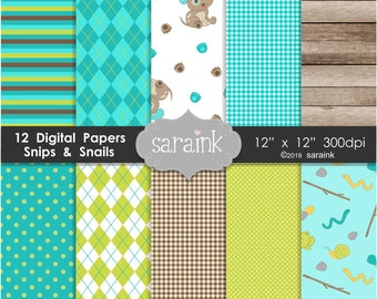 Snips and Snails Papers Download - Turquoise, Green, Lime, Apple Green, Brown Digital Papers and Backgrounds for Personal and Commercial Use