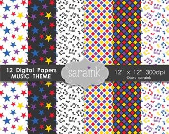 Music Digital Paper Pack - Music Background Paper - Star Digital Paper, Music Note pattern paper, Diamond Digital Paper, digital background