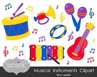 Music Clip Art - Instruments Clipart -  Music Notes Clipart - Digital Clip Art - Downloadable Art - Drum Clip Art - Guitar Clip Art