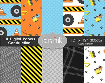Construction Papers, Construction Background Papers, Digital Paper, Digital Scrapbook Paper for Instant Download