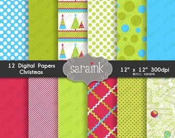Christmas Digital Papers Download   Christmas Scrapbook Papers    Blue Polka Dot Paper   Xmas Digital Paper   Pine Tree Paper