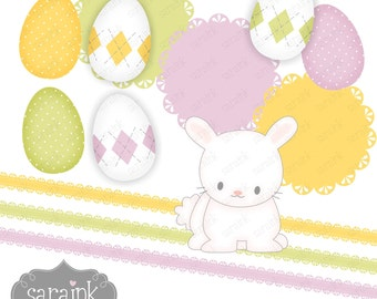 Easter Clip Art Download - Easter Eggs. Easter Bunny. Ribbons and Scalloped Notes -PNG files - Commercial & Personal Use
