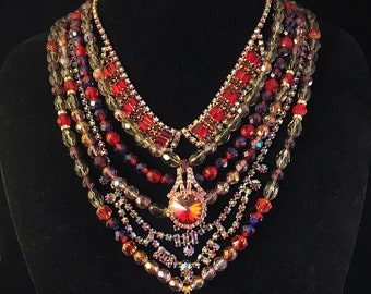 Lady in red vintage glam rhinestone necklace