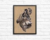 Mermaid 8x10 Art Print - ...