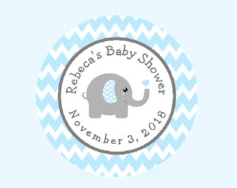 Pink Grey Gray Elephant Chevron Labels Custom Thank You Stickers for Party Favors Baby Shower Personalized Round Party Favor Stickers