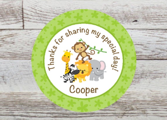 24 Cute Monkey Theme Party Favor Labels// Stickers Glossy!