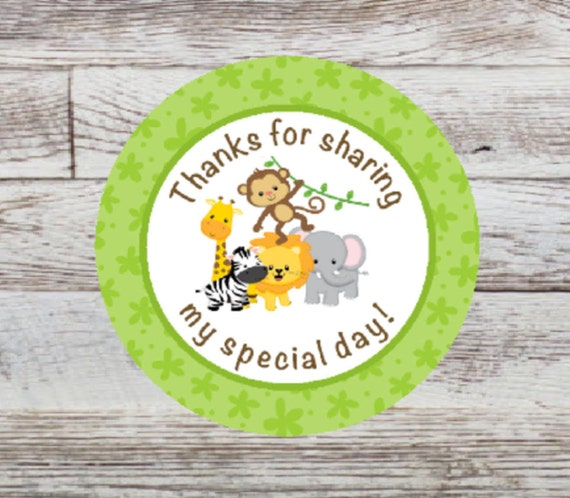1 Sheet of 108 Jungle Party Animals Labels Fit Hershey/'s Kisses Safari Zoo Animal Birthday Party or Baby Shower Round Candy Sticker Favors