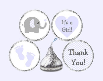 Purple Lavender & Grey Elephant Baby Shower 324 Glossy Stickers for Candy Kiss® - Purple and Gray Chevron Chocolate Kisses *Discounts Avail