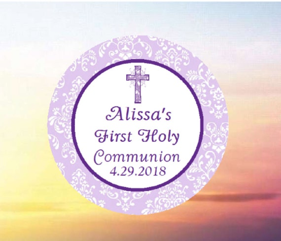 Purple Lavender Damask 108 Glossy or Matte Candy Kiss Stickers\u00ae Baptism Christening Baby Dedication First Communion Stickers Party Favors