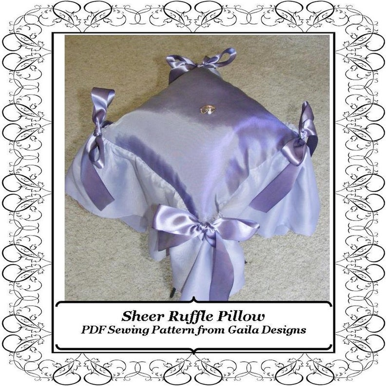 Sheer Ruffle Pillow PDF Sewing Pattern DIY Ring Bearer Pillow image 0