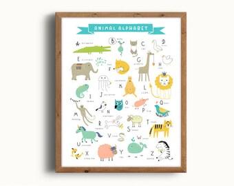 Alphabet Poster, Animal Alphabet, Alphabet Print, ABC Poster, ABC Print, Nursery Alphabet, Kids Room Decor, Digital Print, Instant Download