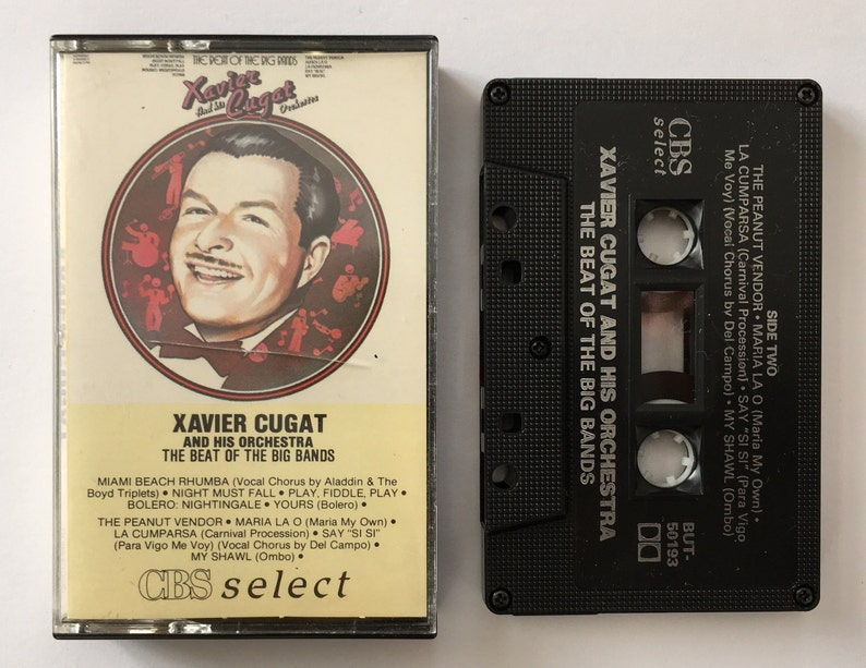 Xavier Cugat and his orchestra - The beat of the big bands - cassette tape  vintage music - Havana Cuba - 1986 80s - Free shipping USA Canada
