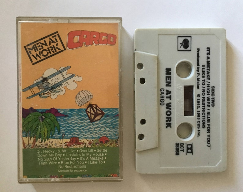 Men At Work - Cargo - vintage cassette tape - pop rock music - new wave -  australian rock band - 1983 80s - Free shipping Canada USA