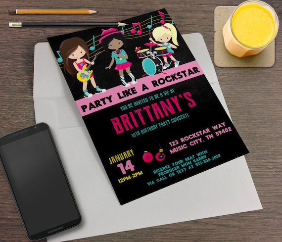 Neon Hot Pink Rockstar Printable Birthday Party Invitation